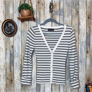 UO Striped Deep V Button Front Cardigan
